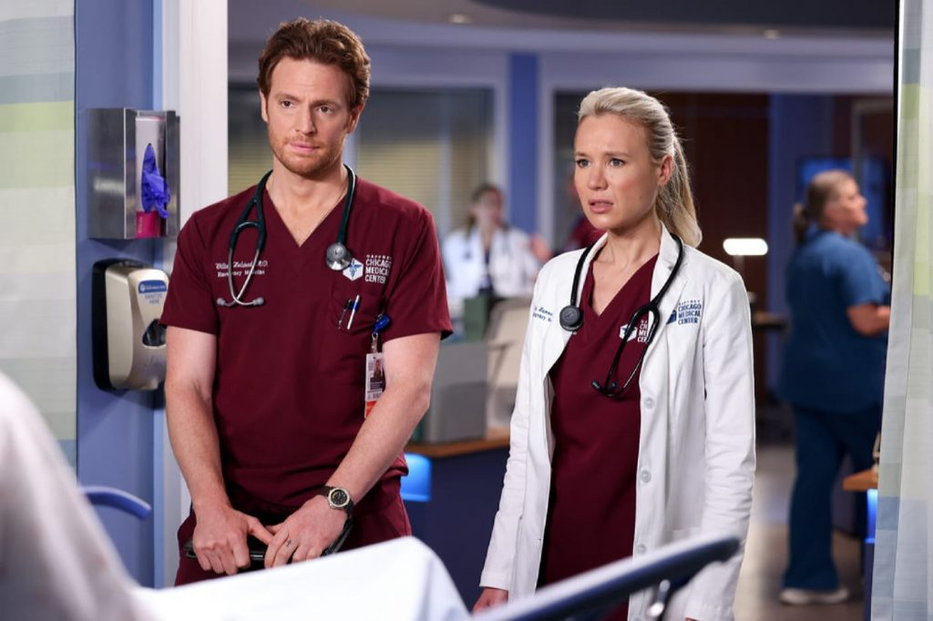"""CHICAGO MED -- """"To Lean In Or To Let Go"""" Episode 702 -- Pictured: (l-r) Nick Gehlfuss as Dr. Will Halstead, Kristin Hager as Dr. Stevie Hammer -- (Photo by: George Burns Jr/NBC)"""