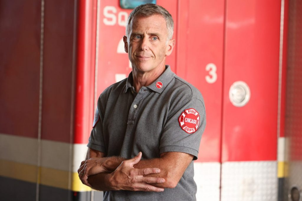 """CHICAGO FIRE -- """"Headcount"""" Episode 1002 -- Pictured: David Eigenberg as Christopher Herrmann -- (Photo by: Adrian S. Burrows Sr./NBC)"""