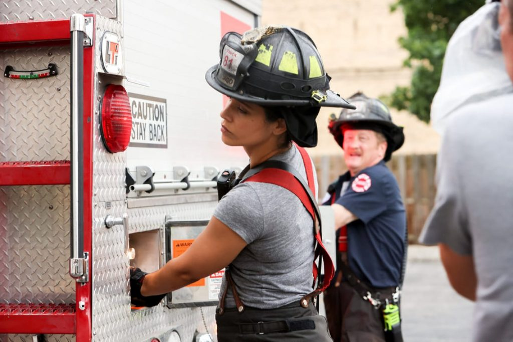 """CHICAGO FIRE -- """"Headcount"""" Episode 1002 -- Pictured: (l-r) Miranda Rae Mayo as Stella Kidd, Christian Stolte as Randall """"Mouch"""" McHolland -- (Photo by: Adrian S. Burrows Sr./NBC)"""